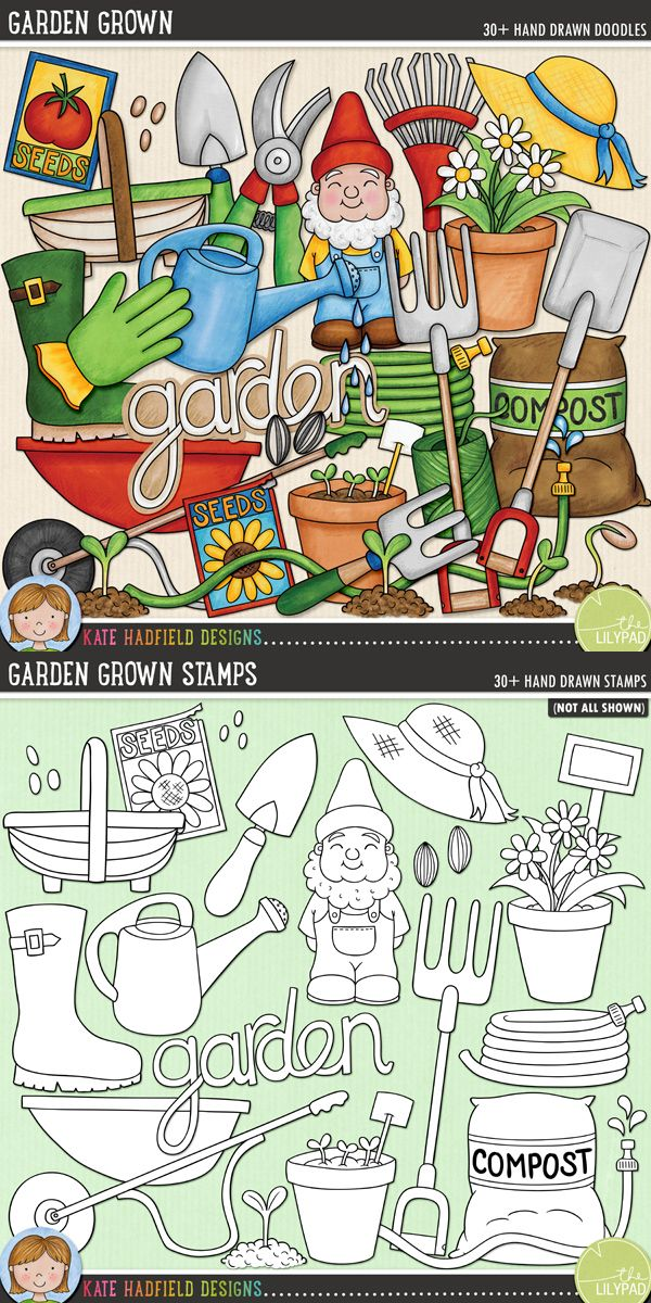 Garden Grown by Kate Hadfield Designs. A collection of hand drawn doodles that are perfect for all the green-fingers gardeners out there!