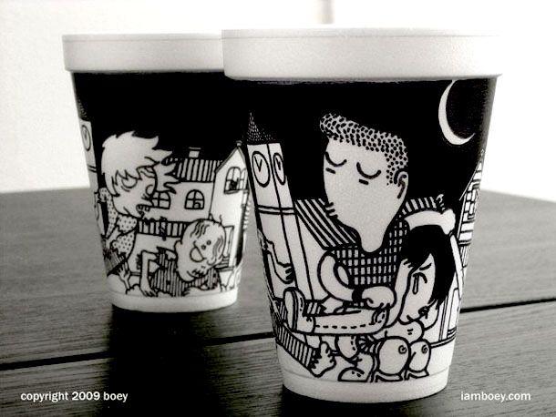 Polystyrene cup sharpie drawings