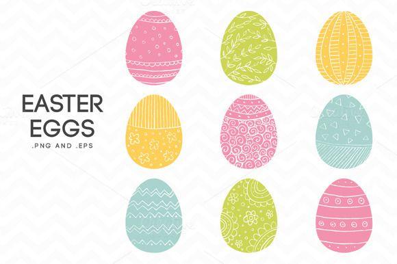 Hand Drawn Easter Eggs Vector by AzmariDigitals on @creativemarket