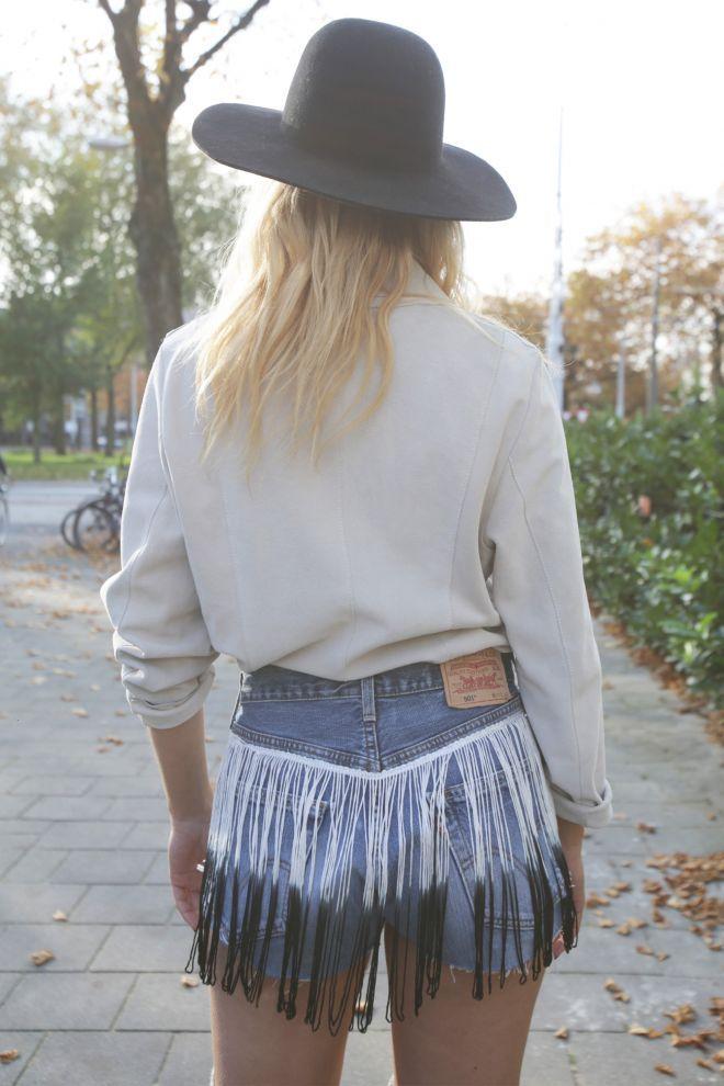 bohemian customized denim vintage shorts fringes