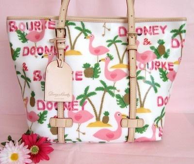 Dooney Amp Bourke Flamingo East West Lg Satchel Tote Handbag