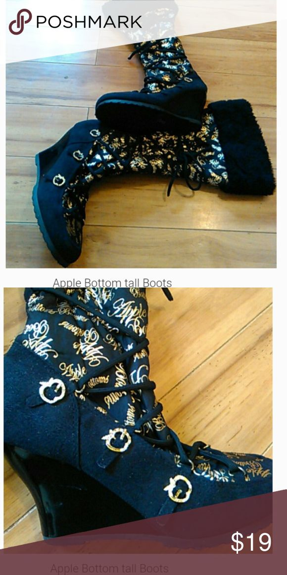 Apple Bottoms boots Black and gold wedge heel tall boots Apple Bottoms Shoes Heeled Boots