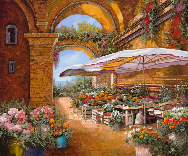 Il Mercato Sotto I Portici Guido Borelli  Painting  Oil on Canvas