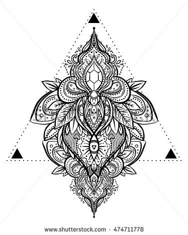 Vector ornamental floral element over sacred geometry, patterned Indian paisley. Hand drawn illustration. Trendy element. Tattoo, astrology, alchemy, boho and magic symbol. Coloring book for adults.