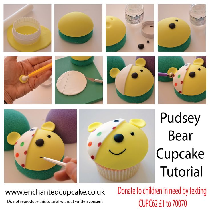 Pudsey Bear Children in Need cupcake topper tutorial from Enchanted Cupcakes. Click link for full instructions. https://www.facebook.com/EnchantedCupcakes/photos/a.247698655325615.53490.247698138659000/840235646071910/?type=3&theater