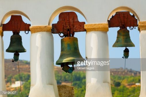 Stockfoto : Bells hanging in a church, Monastery of St. John the Divine, Patmos, Dodecanese Islands, Greece
