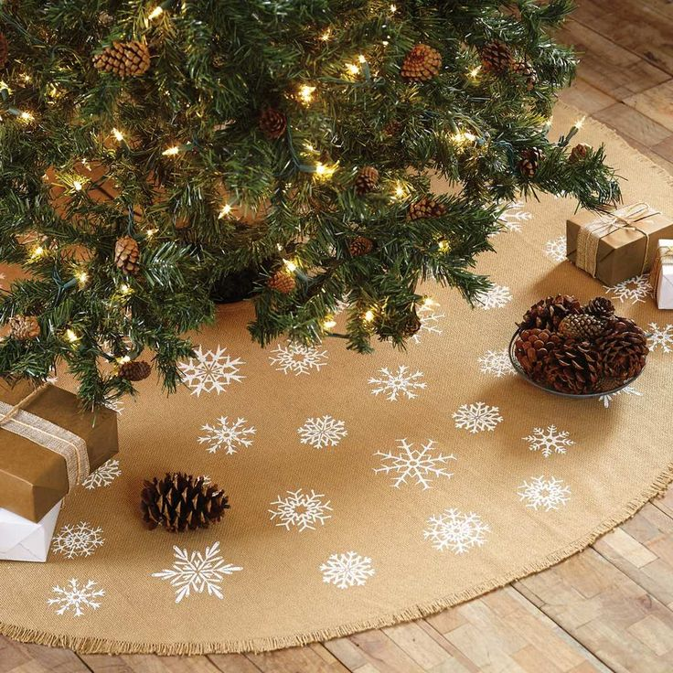 Snowflake Burlap Mini Tree Skirt 21 Create A Simply Charming Look Beneath Your Small Christmas