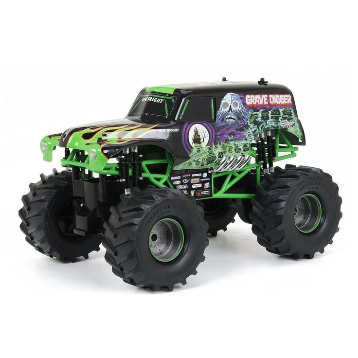Grave Digger Radio Control Truck Product Description: Monster Jam Grave Digger is as Big as it gets! Grave digger rc is powered by a 9.6V Lithium-Ion battery, these trucks crush the competition! Grave #radiocontroltrucks