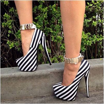 Black and white stripes high #heel shoes with ankle strap