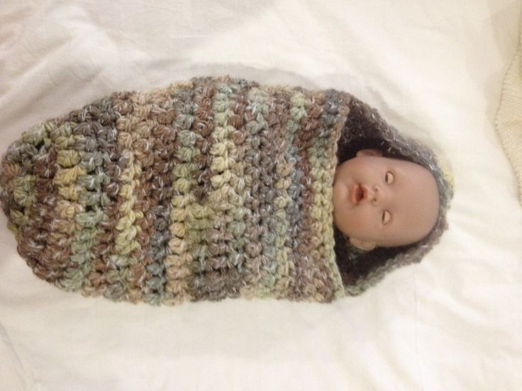 Newborn -3 months baby crochet cocoon and photo prop - adapted from pattern https://img1.etsystatic.com/000/0/5887547/il_570xN.263424751.jpg