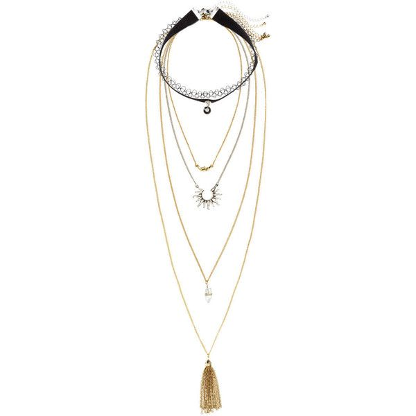 H&M 6-pack necklaces ($15) ❤ liked on Polyvore featuring jewelry, necklaces, accessories, accessories - jewelry, gold, h&m, h&m necklace and h&m jewelry
