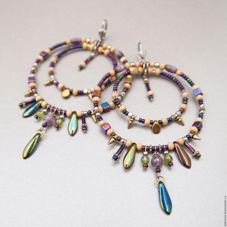 """Купить Фиолетовые серьги кольца """"Fly"""". Сережки крупные бохо с аметистом. - ручной работы"""