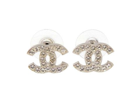 Chanel stud earrings CC rhinestone silver Authentic vintage Chanel by Chanel