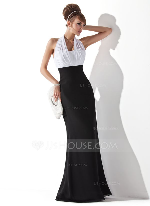 Empire Halter Floor-Length Chiffon Evening Dress With Ruffle (017020321) - this dress in black and silver