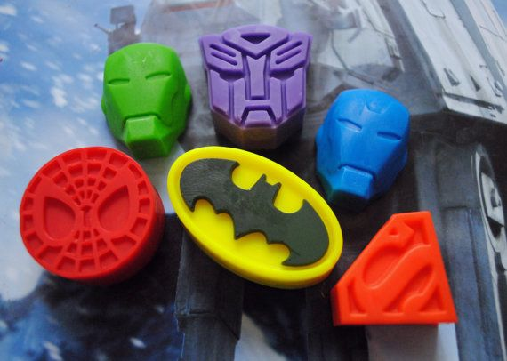 6 x Superhero Soap  Batman Iron Man Transformer by NerdySoap