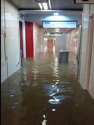 Lewisham station was left flooded. Picture: Twitter