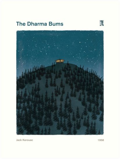 "Jack Kerouac ""The Dharma Bums"" - Large Literature Book Cover Art Print, literary quote print, bookish gift, modern home decor.    This is a poster of Jack Kerouac's ""The Dharma Bums"". The illustration depicts the conclusion of the novel, with Kerouac working as a fire lookout on Desolation Peak."