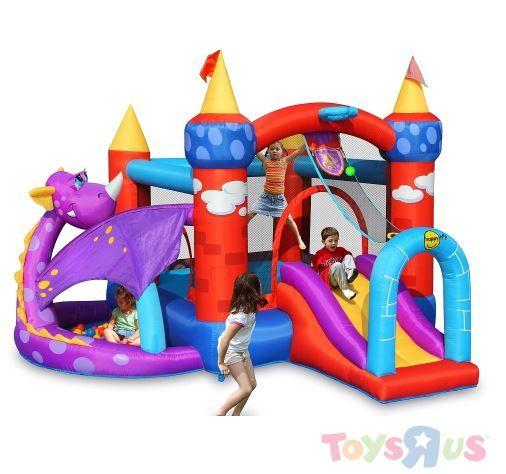 Aire de jeux château et son dragon, avec trampoline, piscine à balles et toboggan. Pouvant accueillir jusqu'à 5 enfants, l'accessoire idéal des goûters d'anniversaire. Le catalogue Toys'R'Us sur catalogues.fr