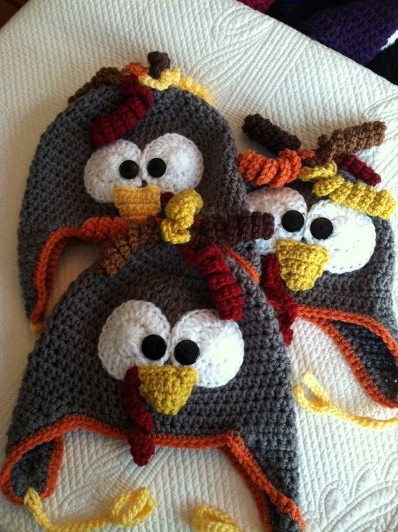 Crochet Baby Hats Turkey Hat, Child Animal Hat, Turkey Hat, Crochet Baby Hat, ...