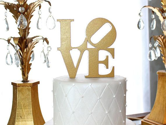LOVE Cake Topper - Metallic Gold or Metallic Silver on Etsy, €29.42