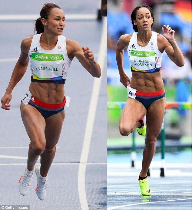 Britain's golden girls Jessica Ennis-Hill (left) and Katarina Johnson-Thompson (right) yesterday began their battle for the women's heptathlon title
