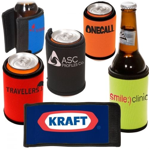 Neoprene bottle holder stretches and wraps around to fit most 12 oz. cans or bottles