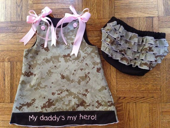Personalized embroidered marine corps baby dress set USMC digital desert camo outfit on Etsy, $13.00
