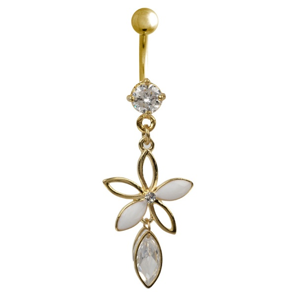 Teardrop Flowers Gold Plated Dangle Belly Button Ring