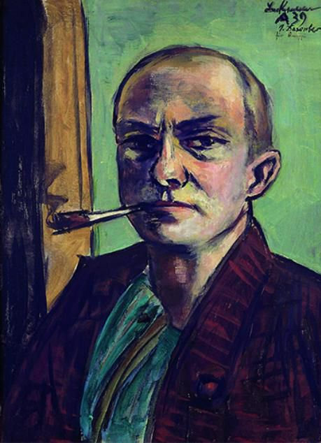 Max Beckmann, Selbstbildnis auf Grün mit grünem Hemd, 1938
