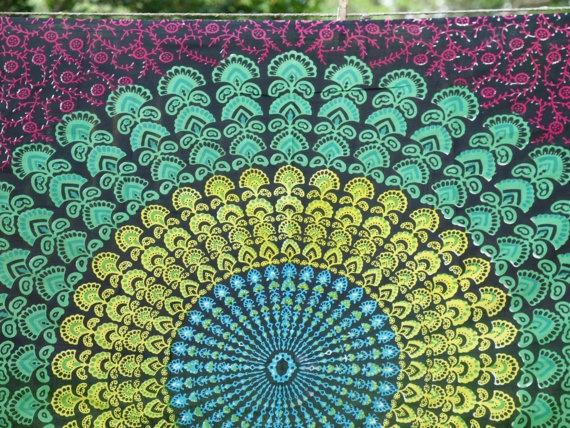 Boho Hippie Tapestry Fabric Colorful by SticksandStonesHemp1, $20.00