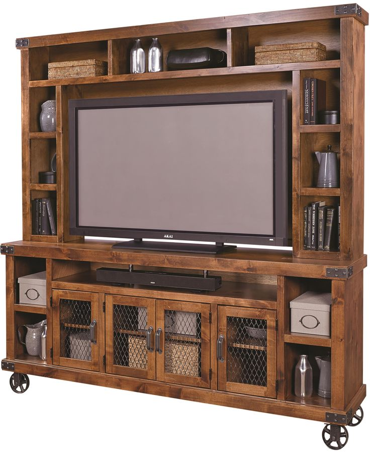 Rustic industrial style entertainment unit at Darvin ...