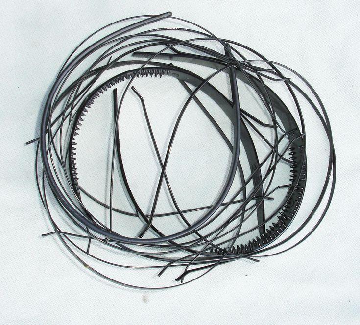 Black Plastic and Metal Headband Lot - 14 pcs