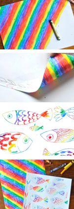 Rainbow Crayon Transfer Drawings