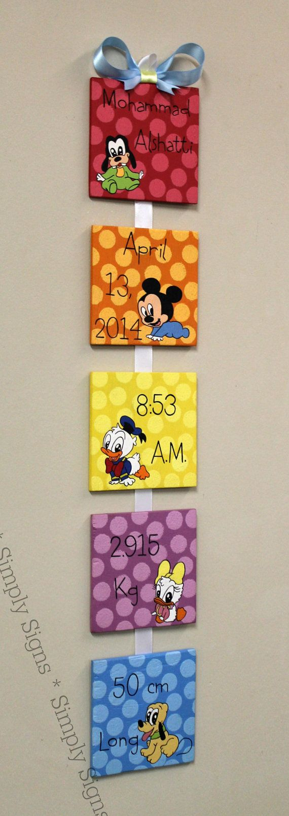 Baby Mickey Mouse and Friends Style Birth by SimplySignsByJess, $50.00  Want this with butterflies, ladybugs, and flowers.