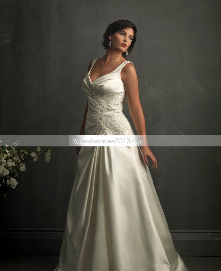 Sangle A-line Chic manches Appliques Chapelle Floor-length Plus Size robe de mariée