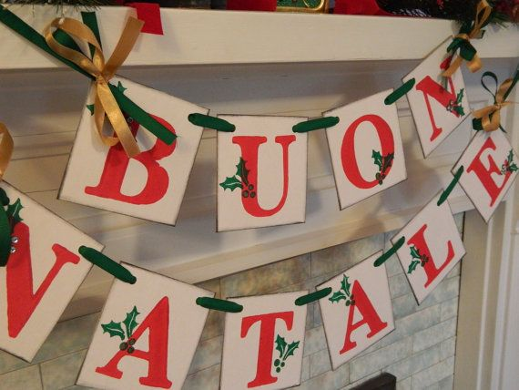Buon Natale Banner Holiday Mantle Holiday Garland Holiday Photo Prop Vintage Inspired Italian Banner Christmas Banners Garlands
