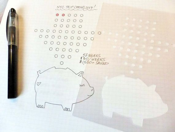 Money Savings Tracker Stencil Planner Stencil fits by Moxiedori