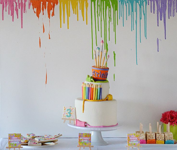"""Art Party Paint Drips Backdrop, Cake Table, Dessert Table Background, 36"""" x 48"""" PRINTABLE PDF Instant Download, Painters, Artist, Canvas by EmilyEntertains on Etsy https://www.etsy.com/listing/507217197/art-party-paint-drips-backdrop-cake"""