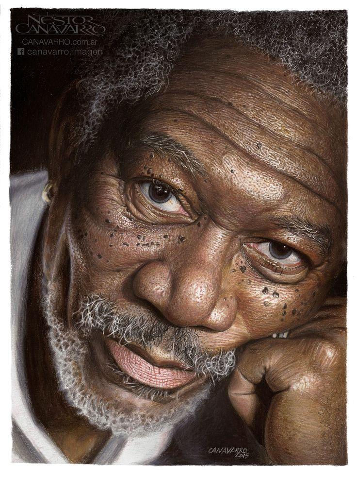 Morgan Freeman Color pencils 30x40 cm.