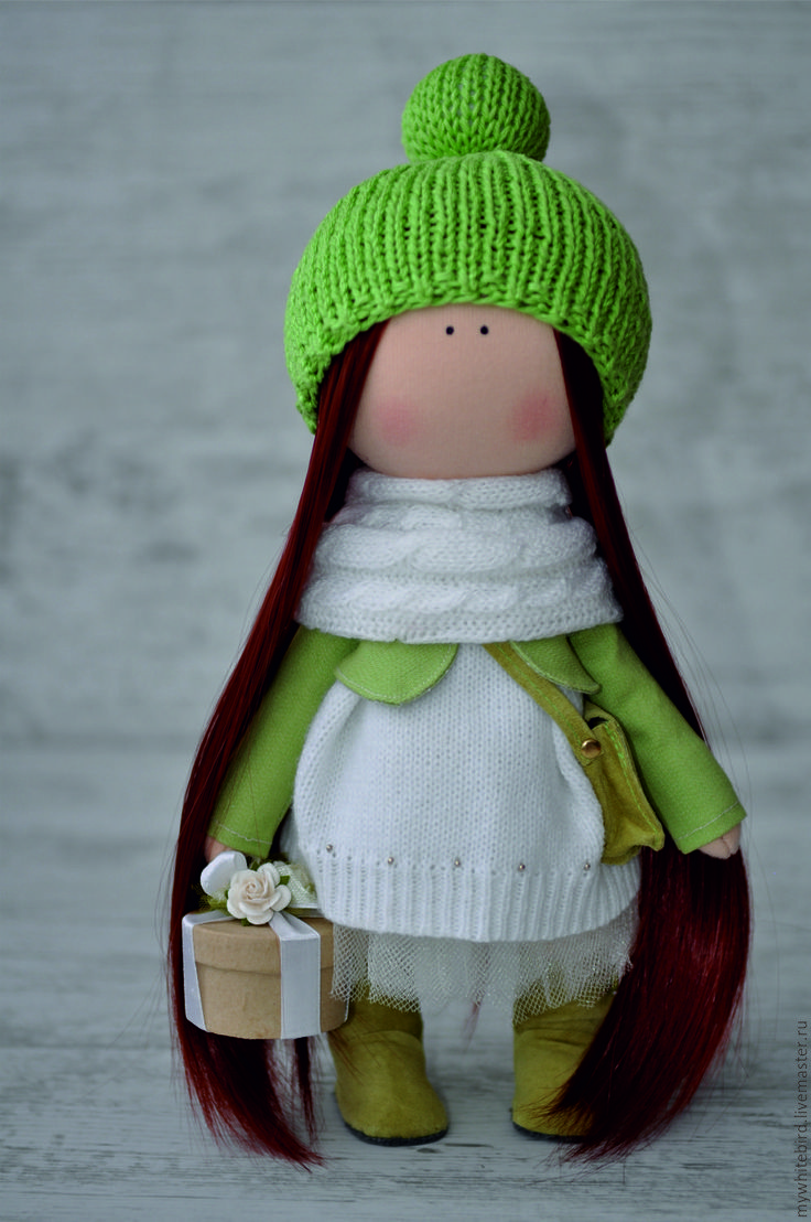 fabric toy / Купить Кукла интерьерная - комбинированный, зеленый цвет, интерьер…