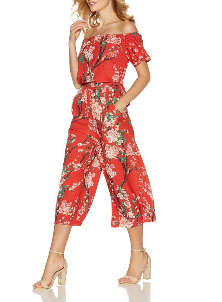 J2017  *Quiz Red Floral Culottes Jumpsuit