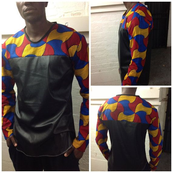 Custom made mens T shirt/ top/ shirt with ankara and by AutumnsDNA, £40.00   www.autumndna.com