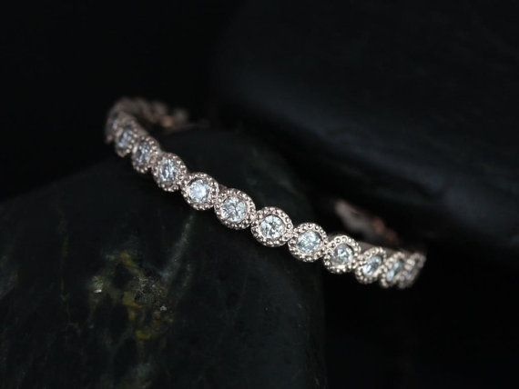 Petite Bubbles 14kt Rose Gold WITH Hand Milgrain Beading Diamond FULL Eternity Band (Available in Diamonds and Other Metals)