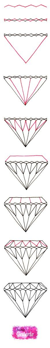 how to draw a diamond / brilliant Diamant zeichnen (Anleitung mit Video)