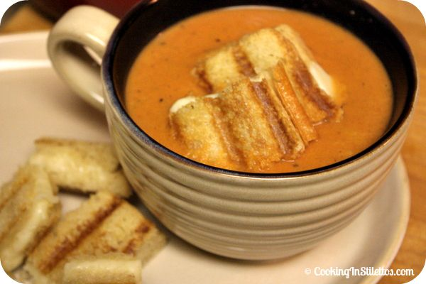 Fire Roasted Tomato Soup with Grilled Cheese Croutons | Recipe
