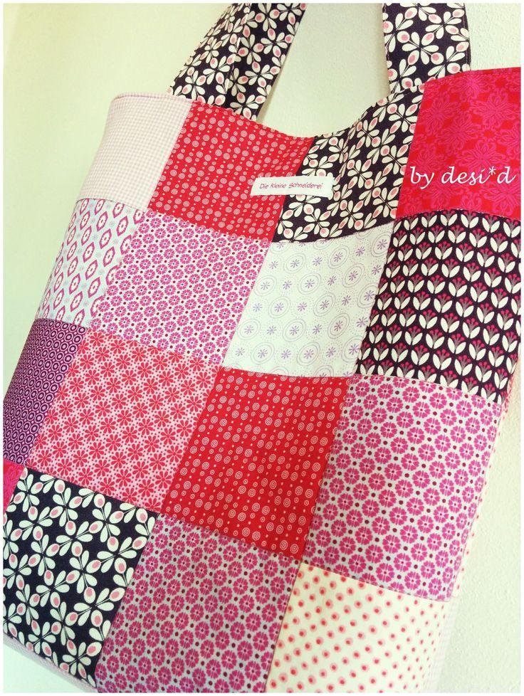 Anleitung für eine Patchwork Tasche (Einkaufsbeutel) ... tutorial patchwork tote bag