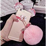 iPhone 7 PLUS Case, Soft Flexible Silicone Clear Cute Girly Protective 3D Cartoon Pink White Sparkle Bling Crystal Rhinestone Mouse Ears Puffy Fur Ball Cover for Apple iPhone 7Plus (5.5 Inch). Compatible with Apple iPhone 7 PLUS ( 5.5 inch). High quality soft silicone rubber gel ( TPU ) material with Luxurious Handmade diamonds and shiny metal. Perfect in workmanship, mickey ear,softball design on back make your phone more dazzling. Provides easy access to all functions and buttons…