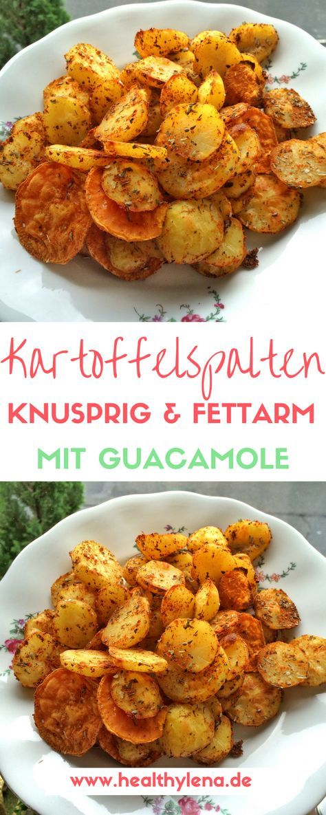 Knusprige & fettarme Kartoffelecken mit würziger Guacamole - lecker, vegan & glutenfrei! #Rezept