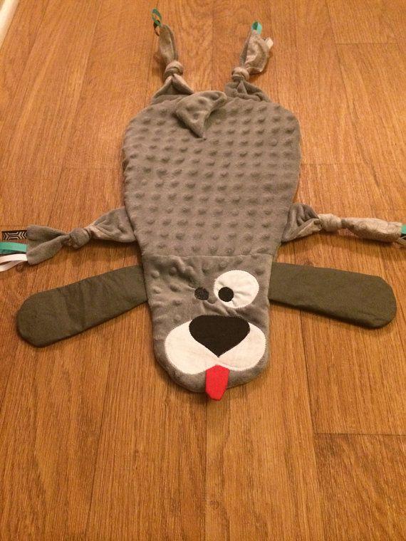 Minky Grey Dog Taggie Blanket https://www.etsy.com/listing/195860895/baby-childrens-sensory-toy-blanket-grey
