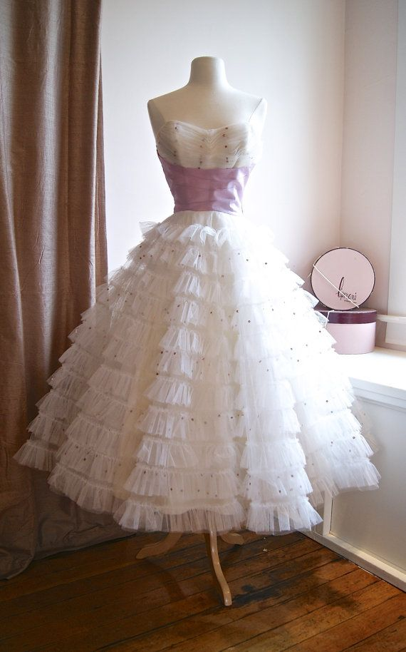 Vintage 1950s Dress 50s Wedding Cotillion Tiered Party With Lavender Sash On